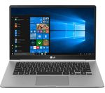 £1049, LG GRAM 14Z990 14inch Intel® Core™ i7 Laptop - 512 GB SSD, Silver, Achieve: Fast computing with the latest tech, Windows 10, Intel® Core™ i7-8565U Processor, RAM: 8GB / Storage: 512GB SSD, Full HD display,