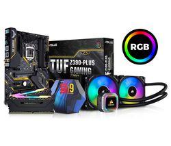 PC SPECIALIST Intel® Core™ i9-9900K Processor, Asus TUF Z390-PLUS Motherboard, 32 GB RAM & AMD Hydro Series CPU Cooler Bundle