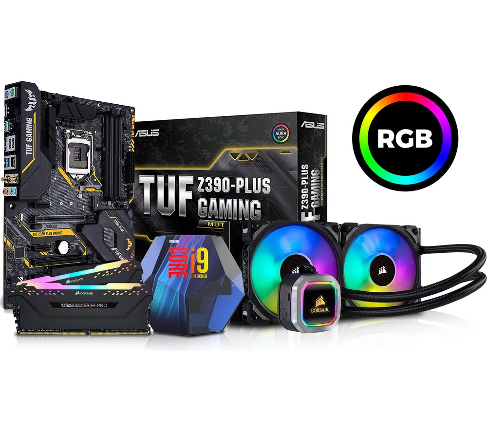 Image of Intel? Core™ i9-9900K Processor, Asus TUF Z390-PLUS Motherboard, 32 GB RAM & AMD Hydro Series CPU Cooler Bundle