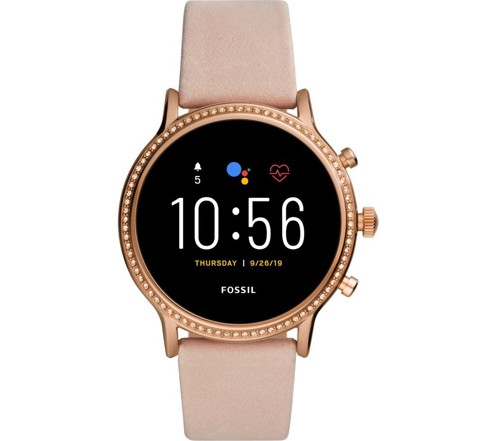 Image of FOSSIL Julianna HR FTW6054 Smartwatch - Blush, Leather Strap