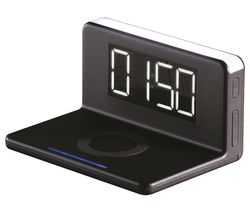 AVS1369 Qi Wireless Charging Alarm Clock - Black & Silver