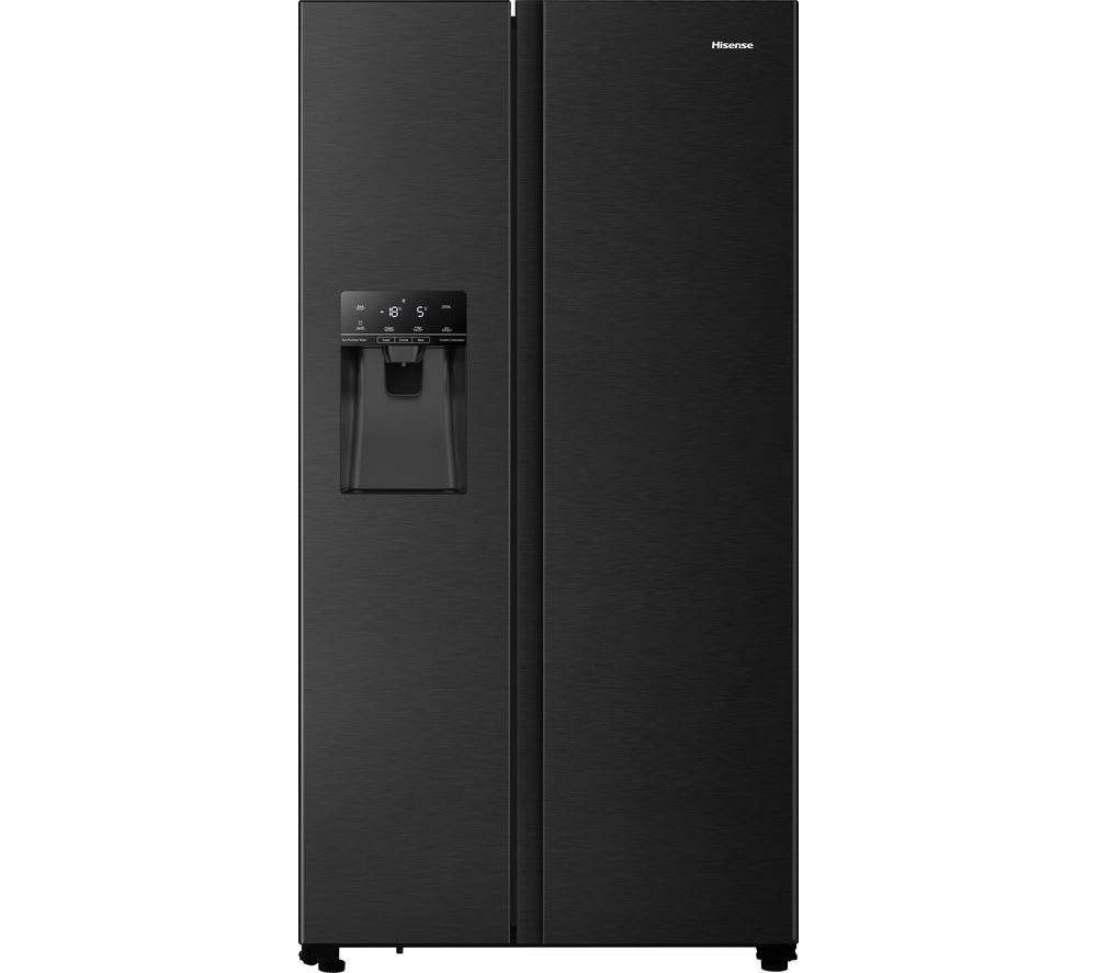 HISENSE PureFlat RS694N4TFF American-Style Fridge Freezer - Black