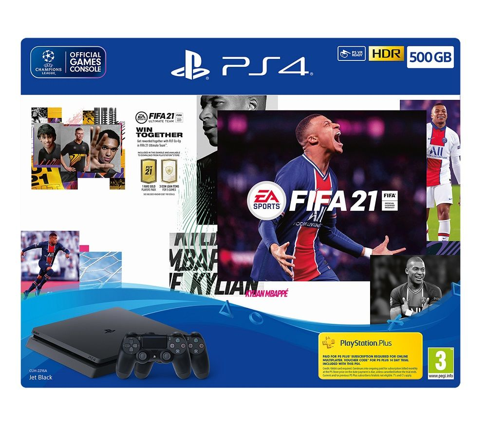 SONY PlayStation 4 with FIFA 21 & Two DualShock Wireless Controllers - 500 GB