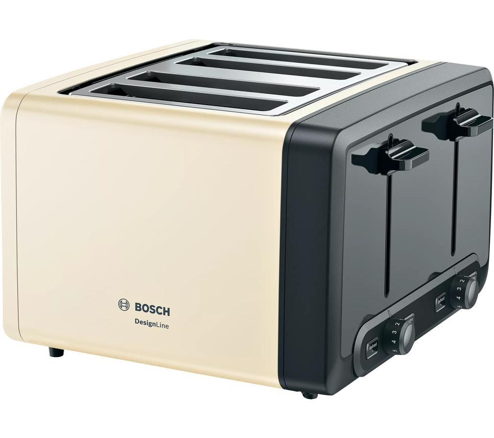 BOSCH DesignLine Plus TAT4P447GB 4-Slice Toaster - Cream, Cream