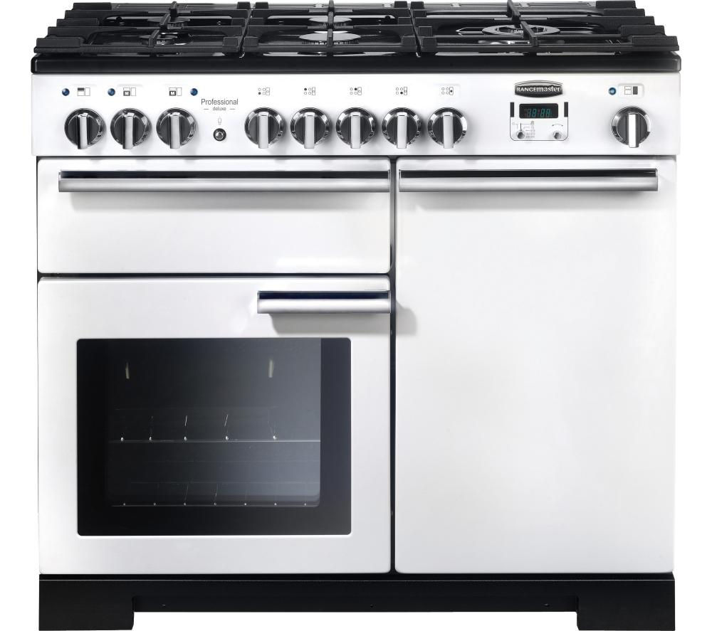 RANGEMASTER Professional Deluxe 100 Dual Fuel Range Cooker - White & Chrome