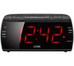 LOGIK LCRB15 Analogue Clock Radio - Black & Silver