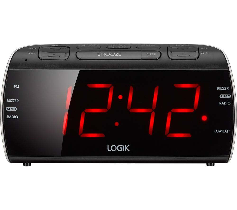 LOGIK LCRB15 FM/AM Clock Radio - Black & Silver