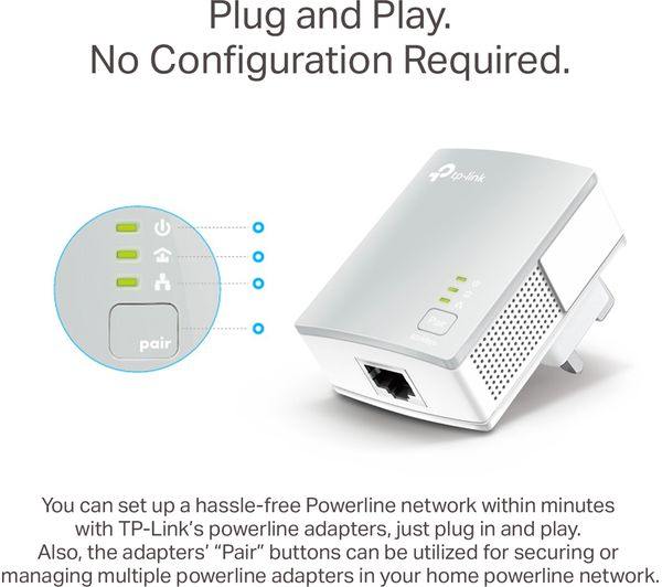TP-LINK TL-PA4010 Powerline Adapter Kit - AV600, Twin Pack