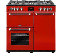 BELLING Kensington 90DFT Dual Fuel Range Cooker - Red & Chrome Best Price, Cheapest Prices
