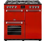 BELLING Kensington 90DFT Dual Fuel Range Cooker - Red & Chrome