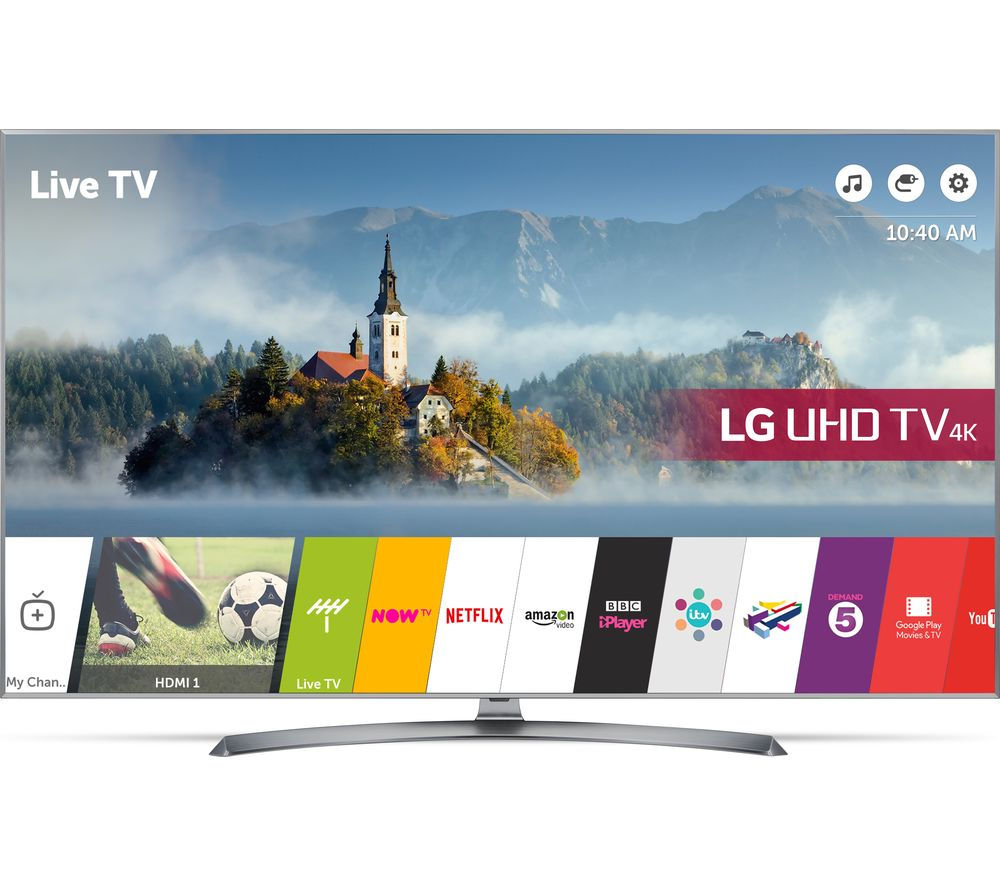 "LG 43UJ750V 43"" Smart 4K Ultra HD HDR LED TV + S1HDM315 HDMI Cable with Ethernet - 1 m"
