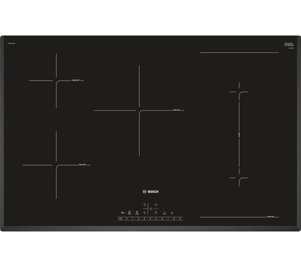 buy bosch pvw851fb1e electric induction hob black free delivery currys. Black Bedroom Furniture Sets. Home Design Ideas