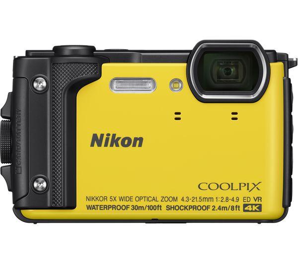 NIKON COOLPIX W300 Tough Compact Camera - Yellow + SWCOM13 Camera Case -  Black