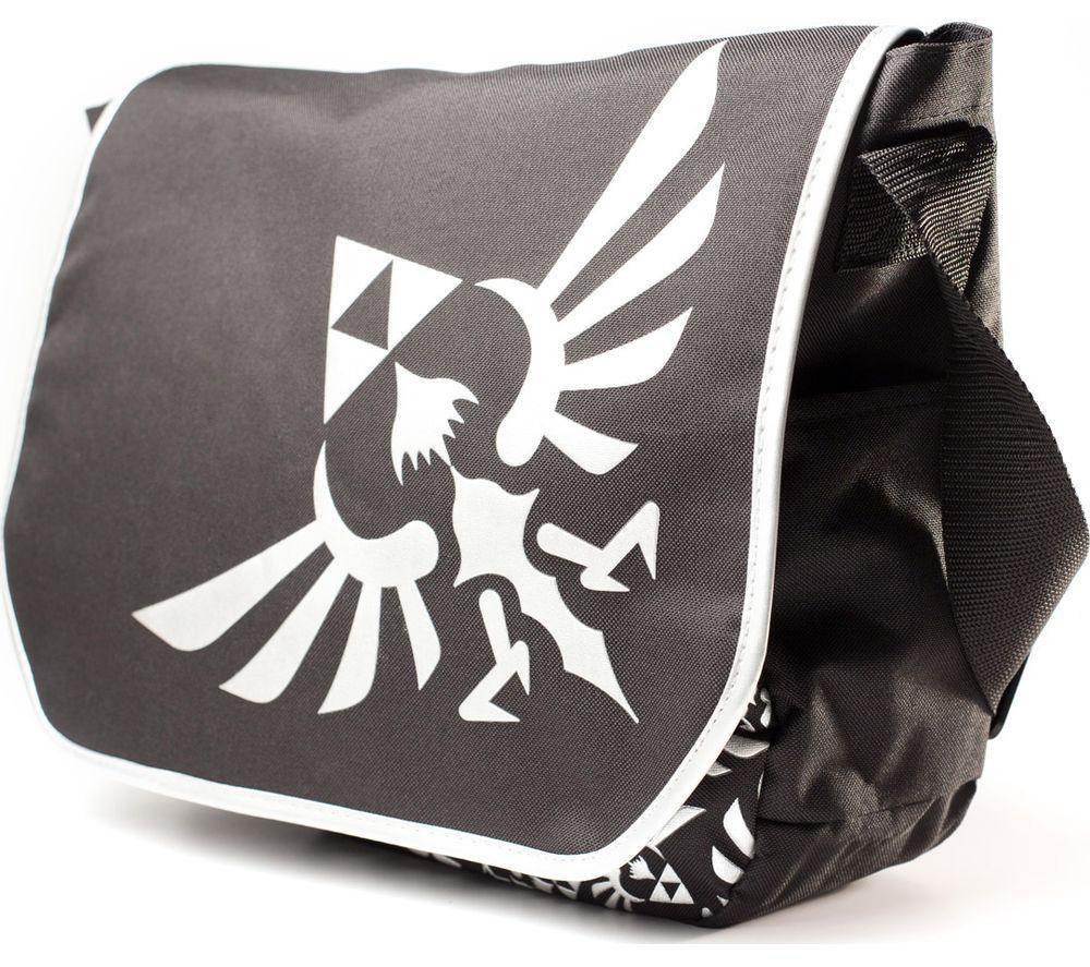 Image of NINTENDO Zelda Messenger Bag with Silver Logo - Black, Silver