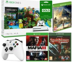MICROSOFT Xbox One S, Minecraft, Killer Instinct, Mafia III Deluxe, LIVE Gold Subscription & Controller Bundle