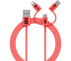 3-in-1 USB Cable - 1 m, Coral