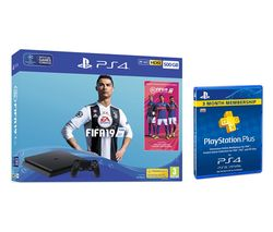 SONY PlayStation 4 500 GB with FIFA 19 & PlayStation Plus 3 Month Subscription Bundle