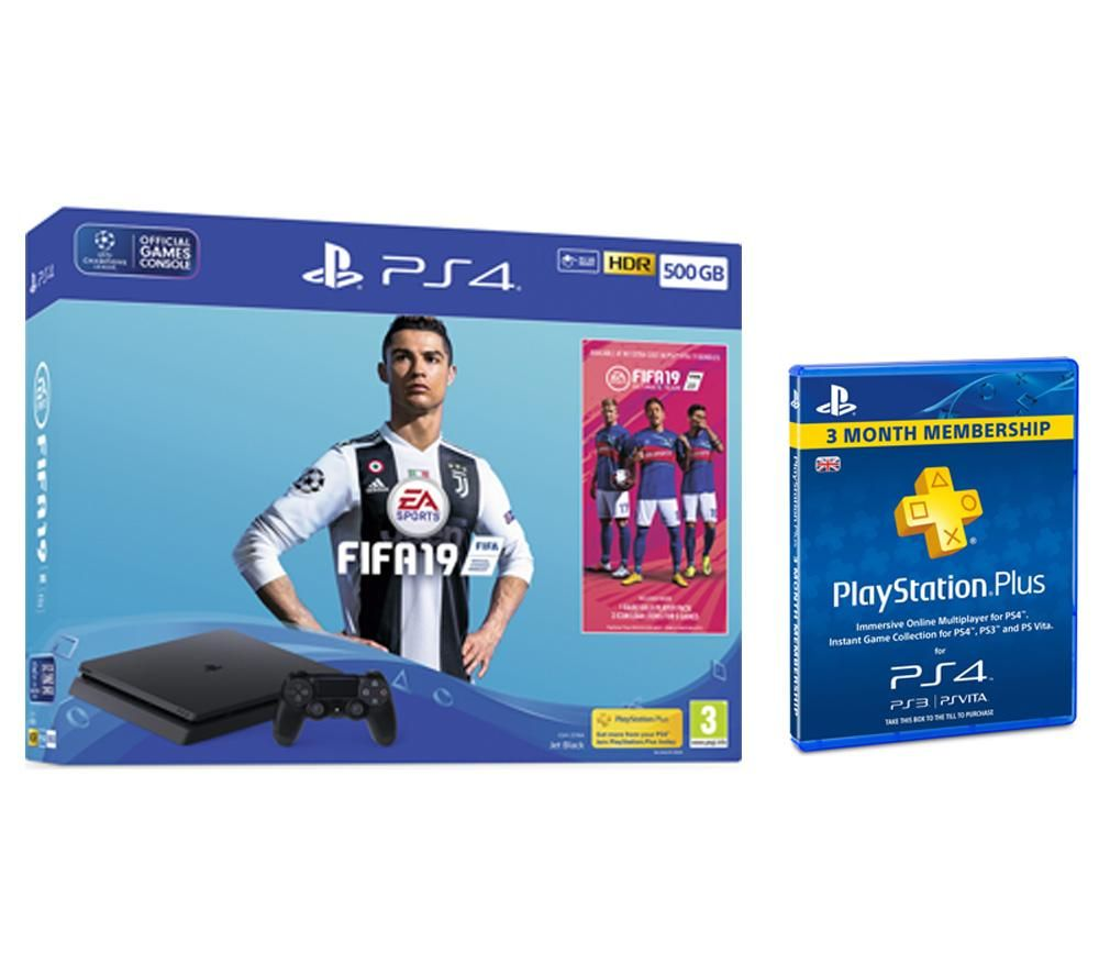 PlayStation 4 500 GB with FIFA 19 & PlayStation Plus 3 Month Subscription Bundle