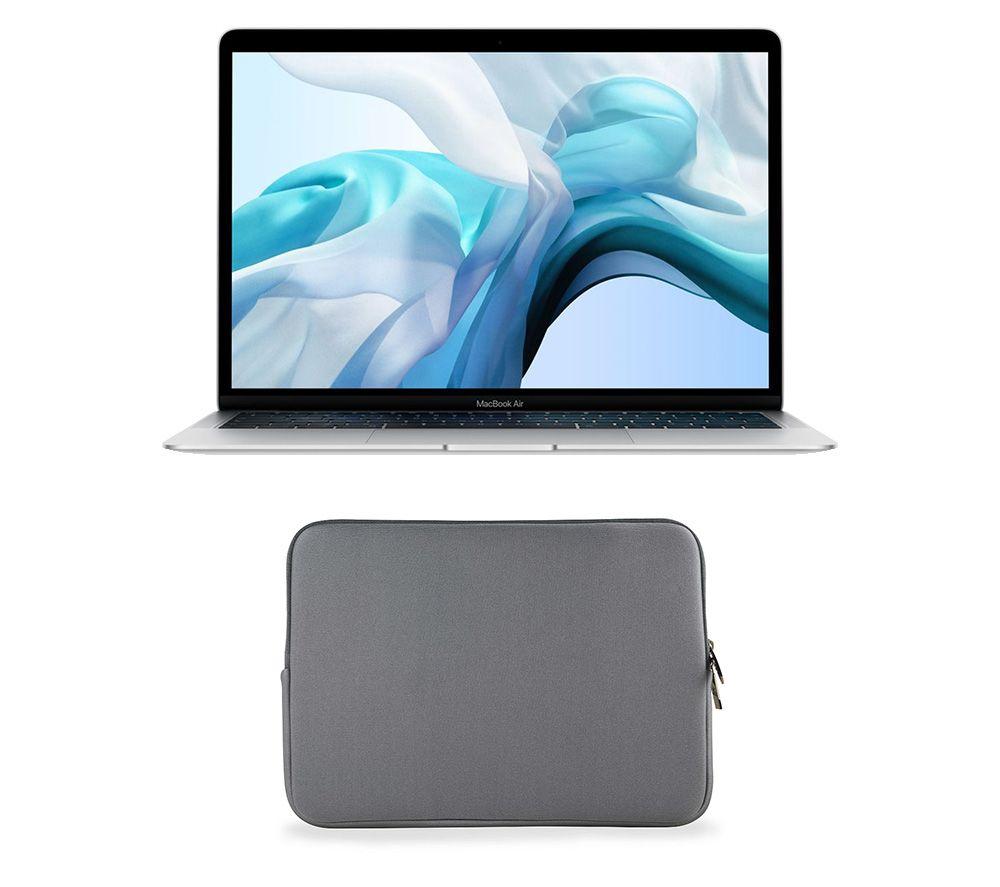 """APPLE MacBook Air 13.3"""" with Retina Display (2018) & Grey Laptop Sleeve Bundle - 128 GB SSD, Silver"""