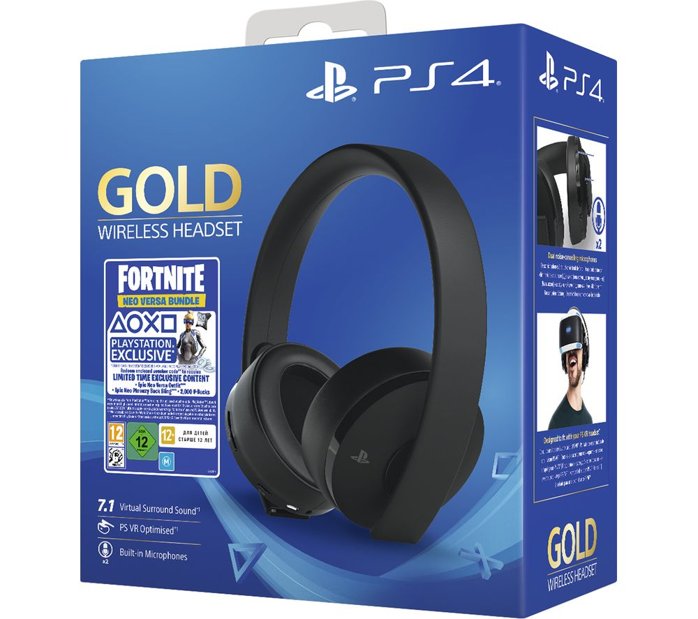SONY Gold Wireless 7.1 Gaming Headset & Fortnite Neo Versa Bundle