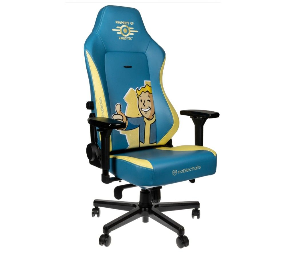 NOBLECHAIRS HERO Fallout Vault-Tec Edition Gaming Chair - Blue & Yellow