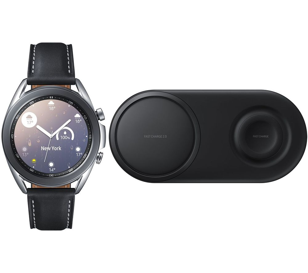 SAMSUNG Galaxy Watch3 & Qi Wireless Duo Charging Pad Bundle