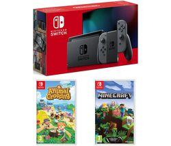 Switch, Animal Crossing: New Horizons & Minecraft Bundle - Grey