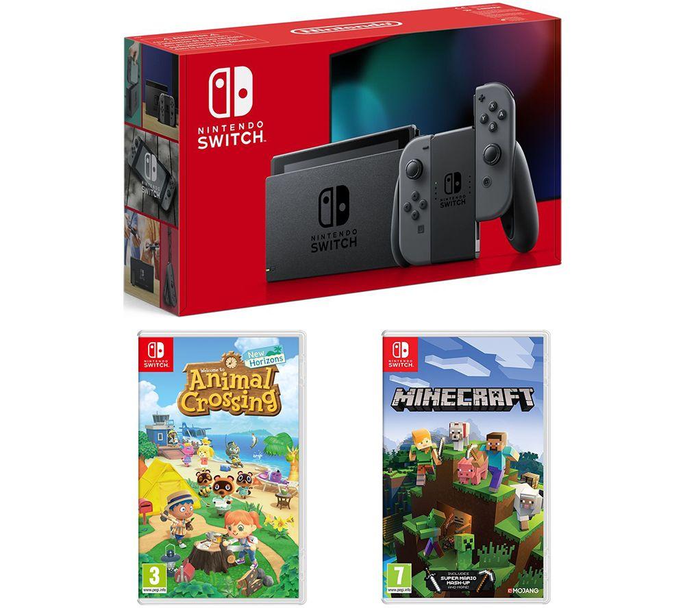 Image of NINTENDO Switch, Animal Crossing: New Horizons & Minecraft Bundle - Grey, Grey
