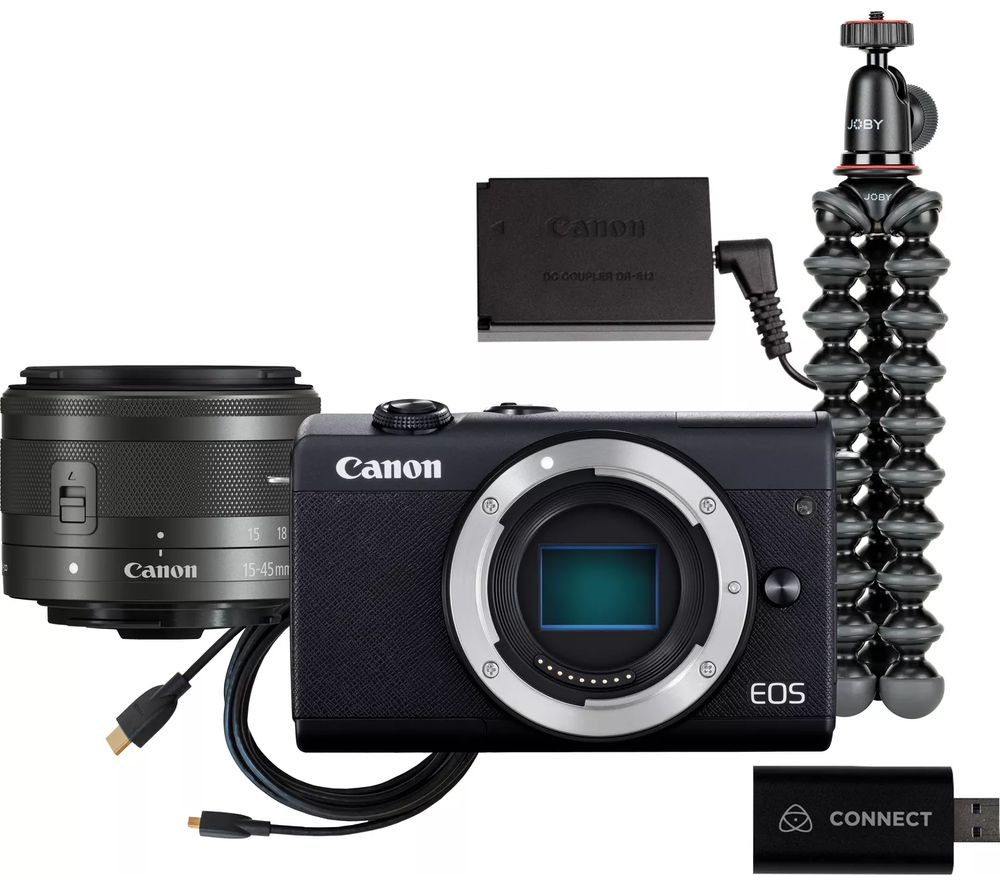 CANON EOS M200 Mirrorless Camera with EF-M 15-45 mm f/3.5-6.3 IS STM Lens Live Streaming Kit