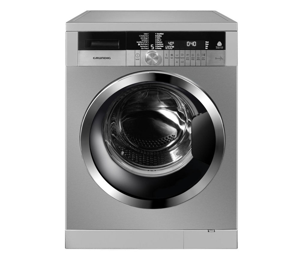 GRUNDIG GWN48430C Washing Machine - Stainless Steel + GTN38250HGCB Heat Pump Tumble Dryer - Black