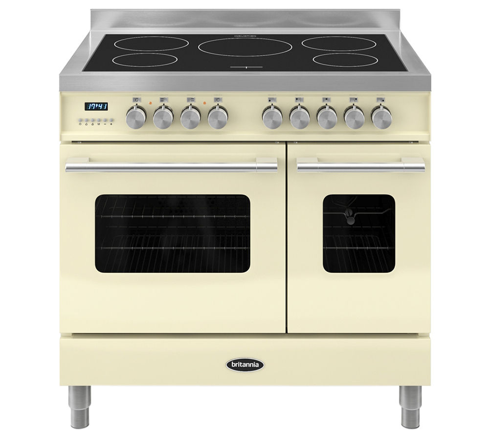 BRITANNIA Delphi 90 RC9TIDECR Electric Induction Range Cooker - Gloss Cream & Stainless Steel