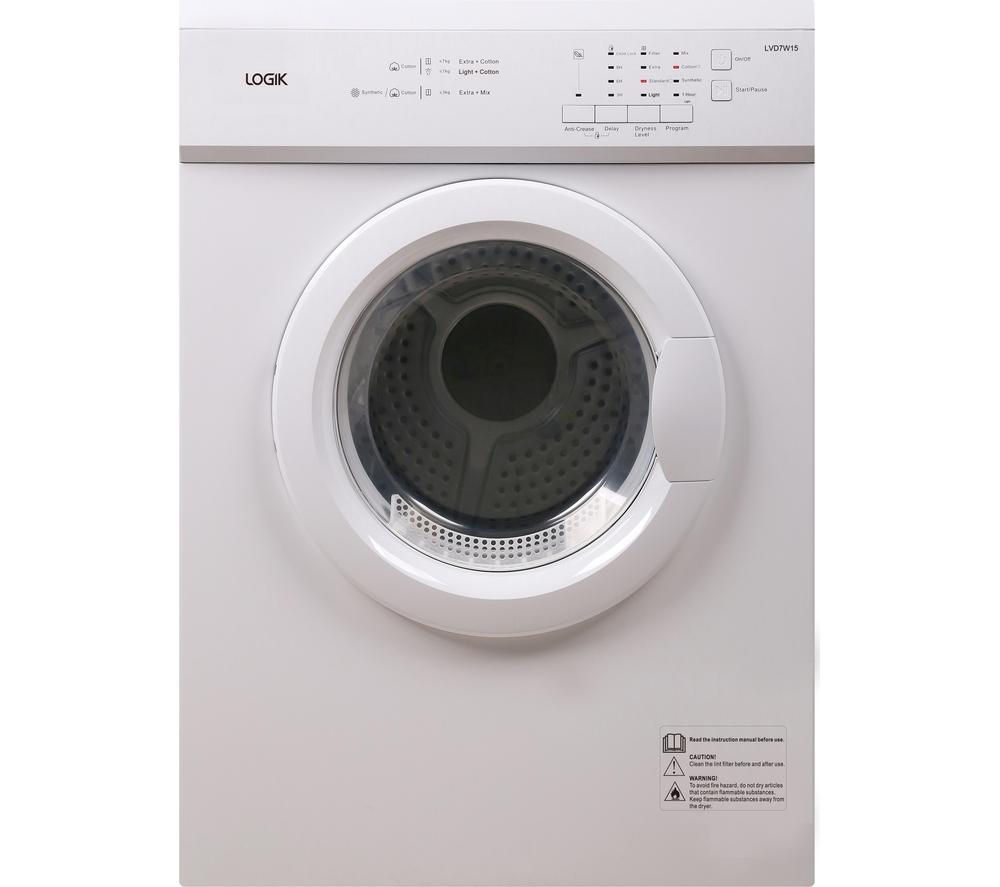 LOGIK LVD7W15 Vented Tumble Dryer - White + DFS05X10W Slimline Dishwasher - White