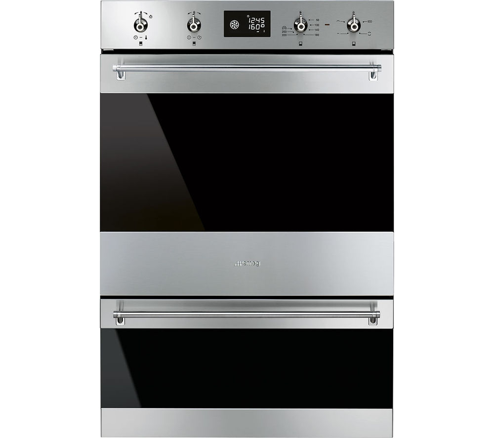 Image of SMEG Classic DOSP6390X Electric Double Oven - Black Glass & Stainless Steel, Stainless Steel