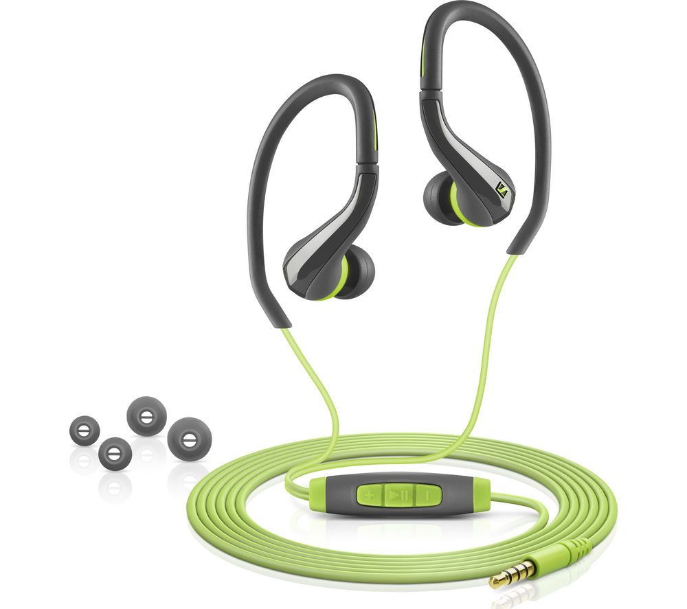 SENNHEISER OCX 684i Headphones - Green + iPhone 7 Lightning to 3.5 mm Headphone Jack Adapter