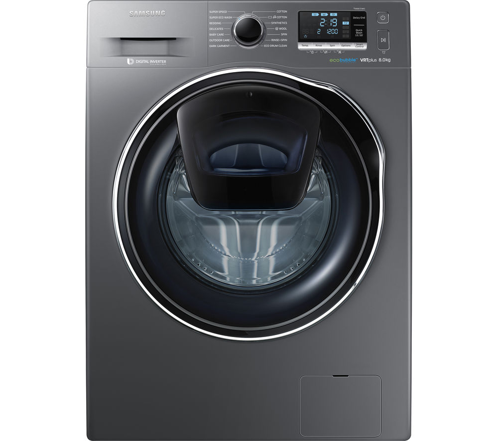 buy samsung addwash ww80k6414qx washing machine graphite free delivery currys. Black Bedroom Furniture Sets. Home Design Ideas