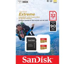 SANDISK Extreme Class 10 microSD Memory Card - 32 GB, Twin Pack