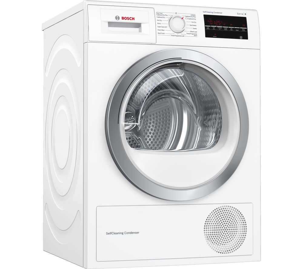 buy bosch serie 6 wtw85480gb 8 kg heat pump tumble dryer white free delivery currys. Black Bedroom Furniture Sets. Home Design Ideas