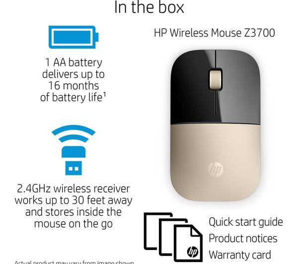 b74b1b6a4ad HP Z3700 Wireless Optical Mouse - Gold Deals | PC World