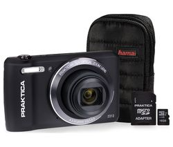 PRAKTICA Luxmedia Z212-BK Compact Camera, Case & 16 GB Memory Card Bundle - Black