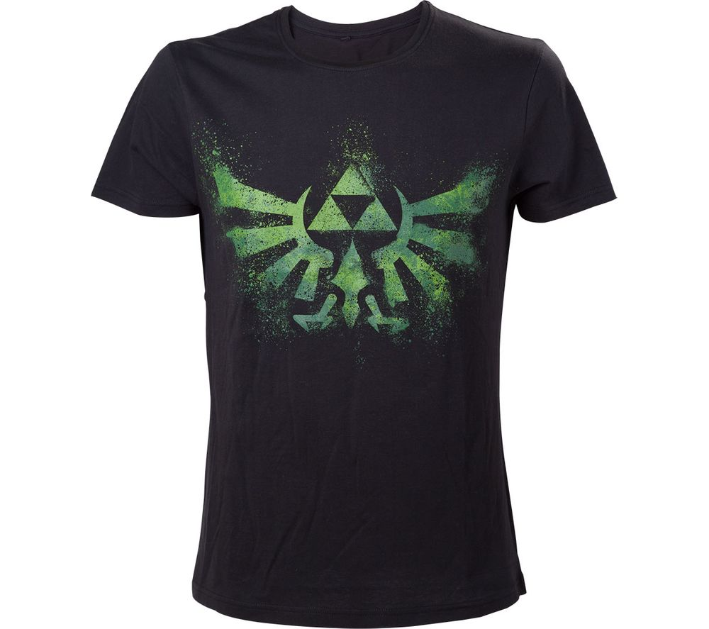 NINTENDO Legend of Zelda Green Triforce Logo T-Shirt - Medium, Black, Green