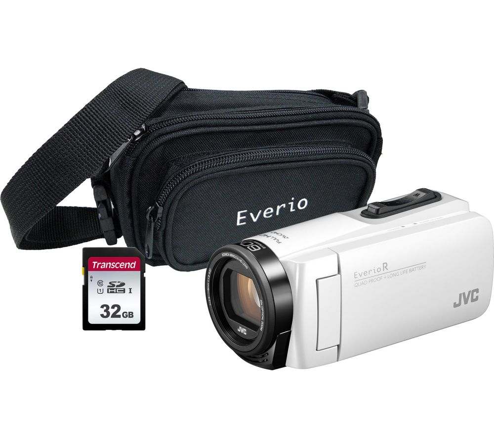 JVC GZ-R495BEK Camcorder & Accessories Bundle - White