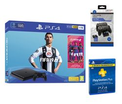 SONY PlayStation 4 with FIFA 19, Twin Docking Station & PlayStation Plus 3 Month Subscription Bundle