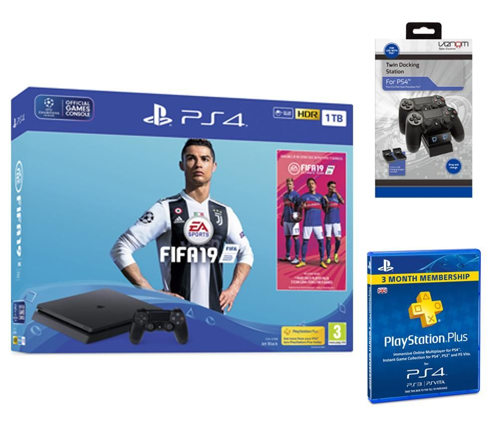 PlayStation 4 with FIFA 19, Twin Docking Station & PlayStation Plus 3 Month Subscription Bundle, Red