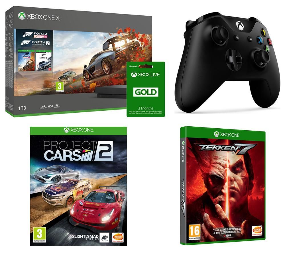 Image of MICROSOFT Xbox One X, Forza Horizon 4, Forza Motorsport 7, Tekken 7, Project Cars 2, Xbox LIVE Gold & Wireless Controller Bundle, Gold