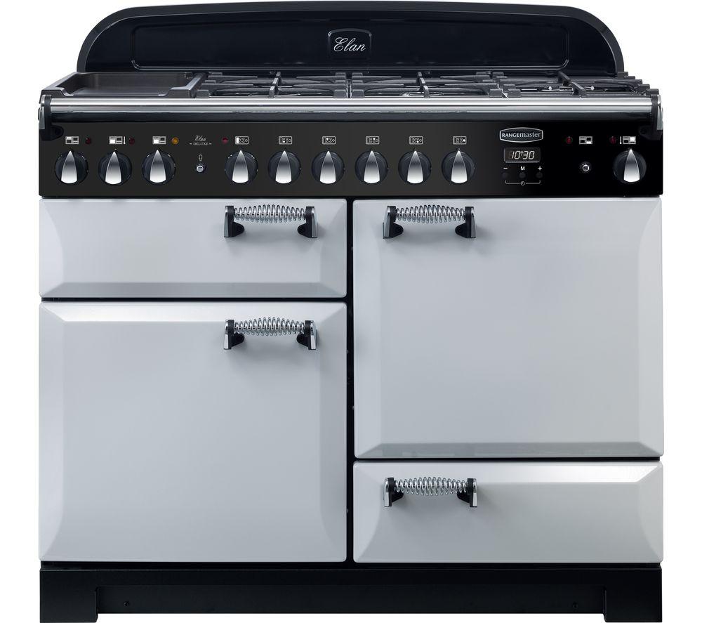 RANGEMASTER Elan Deluxe ELA110DFFRP 110 cm Dual Fuel Range Cooker - Pearl & Chrome