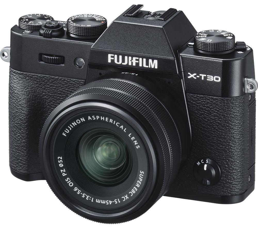 FUJIFILM X-T30 Mirrorless Camera with FUJINON XC 15-45 mm f/3.5-5.6 OIS PZ Lens - Black