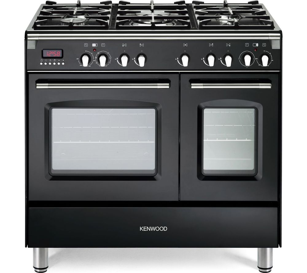Image of CK435BL 90 cm Dual Fuel Range Cooker - Black & Stainless Steel, Stainless Steel
