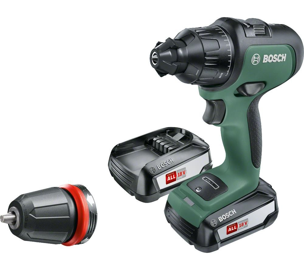 BOSCH AdvancedImpact 18 Cordless 2-Speed Combi Drill with 2 Batteries - Green & Black, Green