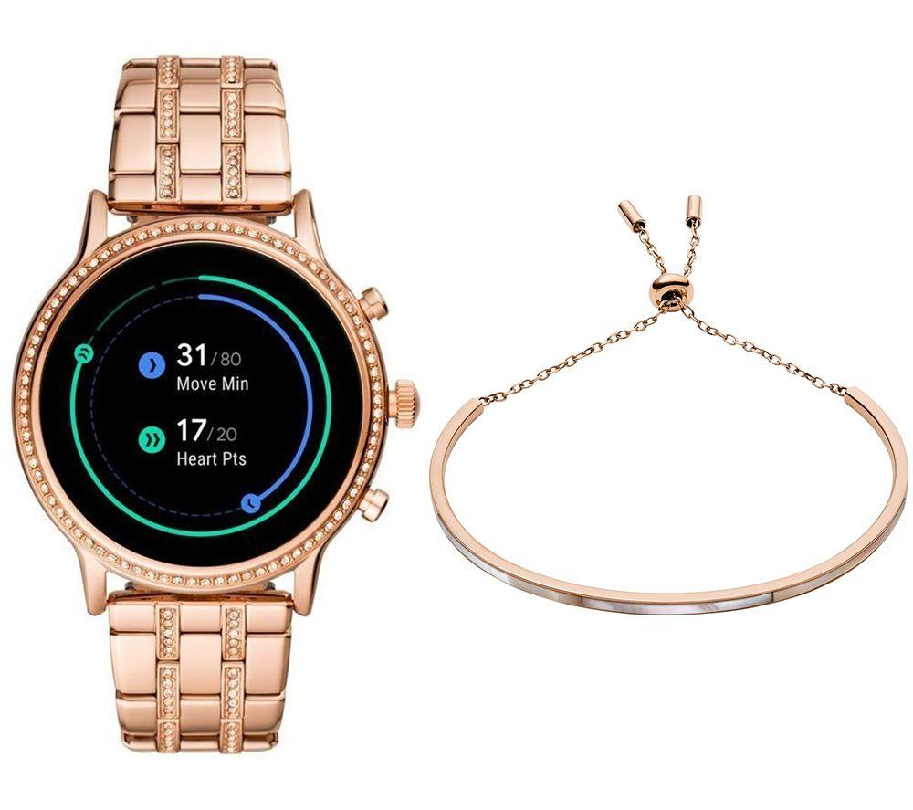 Image of FOSSIL Julianna HR FTW6035 Smartwatch & Stainless Steel Bracelet Bundle, Stainless Steel