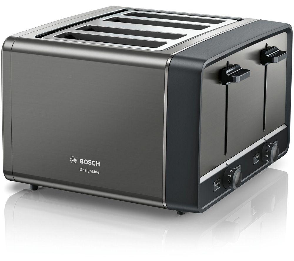 Image of BOSCH DesignLine TAT5P445GB 4-Slice Toaster – Anthracite, Anthracite
